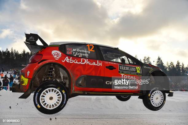 KARLSTAD SWEDEN FEBRUARY Mads Ostberg of Norway and Torstein Eriksen of Norway compete in their Citroen Total Abu Dhabi WRT Citroen C3 WRC during Day...