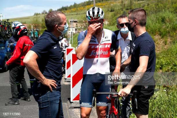 Mads Pedersen of Denmark and Team Trek - Segafredo involved in a crash abandon during the 73rd Critérium du Dauphiné 2021, Stage 3 a 172,2km stage...