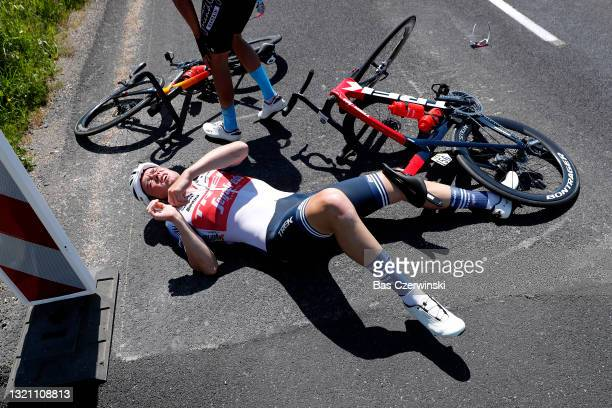 Mads Pedersen of Denmark and Team Trek - Segafredo & Santiago Buitrago Sanchez of Colombia and Team Bahrain Victorious involved in a crash during the...