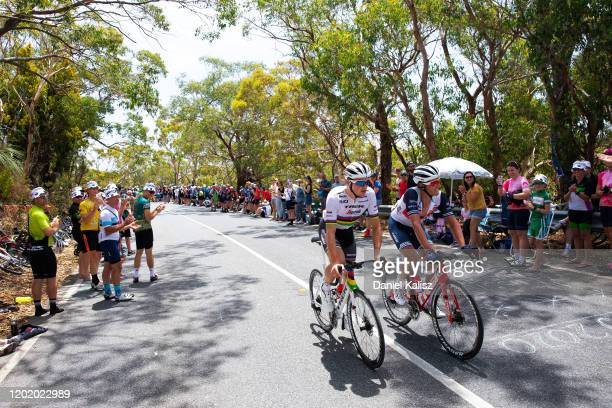 Mads Pedersen of Denmark and Team Trek-Segafredo / Koen De Kort of Netherlands and Team Trek-Segafredo / Willunga Hill / Fans / Public / during the...