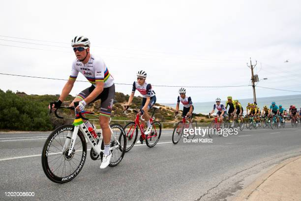 Mads Pedersen of Denmark and Team Trek-Segafredo / Michel Ries of Luxembourg and Team Trek-Segafredo / Koen De Kort of Netherlands and Team...