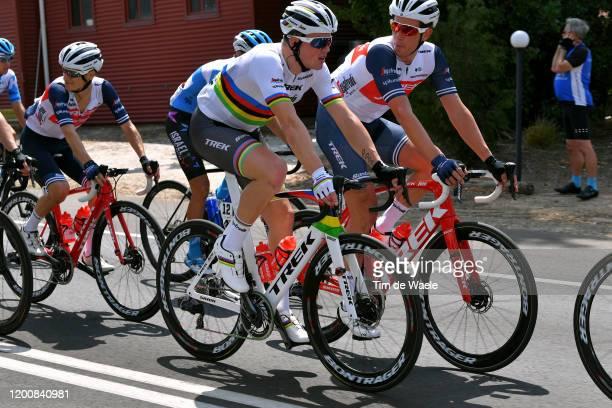 Mads Pedersen of Denmark and Team Trek-Segafredo World Champion Jersey / Koen De Kort of Netherlands and Team Trek-Segafredo / Kenny Elissonde of...