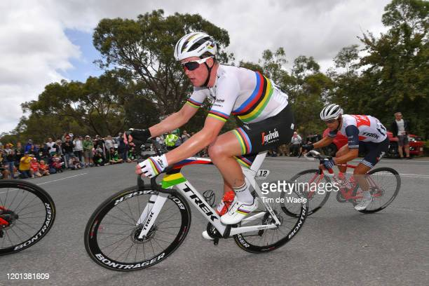 Mads Pedersen of Denmark and Team Trek-Segafredo World Champion Jersey / Richie Porte of Australia and Team Trek-Segafredo / during the 22nd Santos...