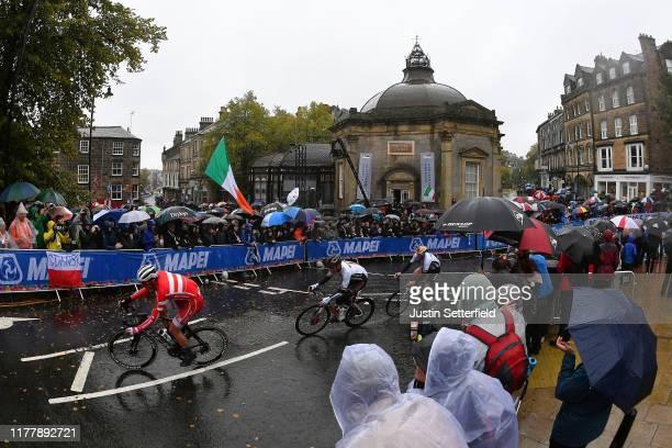 Mads Pedersen of Denmark / Nikias Arndt of Germany / Pascal Ackermann of Germany / Harrogate City / Fans / Public / Peloton / Rain / Landscape /...