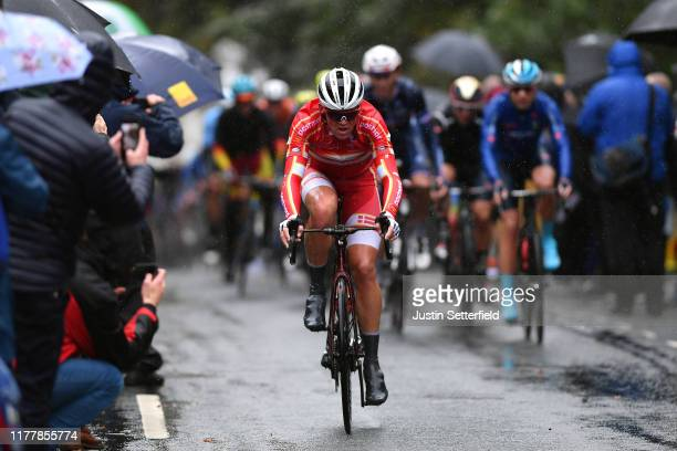 Mads Pedersen of Denmark / Rain / Fans / Public / during the 92nd UCI Road World Championships 2019, Men Elite Road Race a 261,8km race from Leeds to...