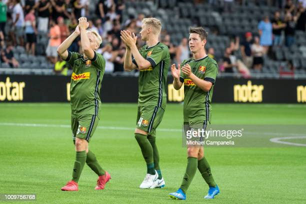 Mads Pedersen Victor Nelsson and Mathias Rasmussen of FC Nordsjaelland thank the away visiting supporters after a UEFA Europa League second...