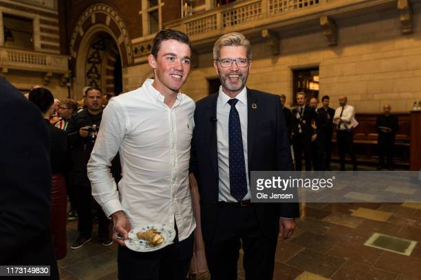 Mads Pedersen winner of the UCI cycling World Championship 2019, together with Frank Jensen, Lord Mayor of Copenhagen, during the celebration...
