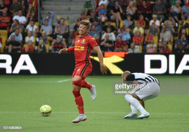 Mads Petersen of FC Nordsjalland vies with Nemanja Miletic of FK Partizan during the UEFA Europa League 3rd Qualifying Round 1st leg match between FC...