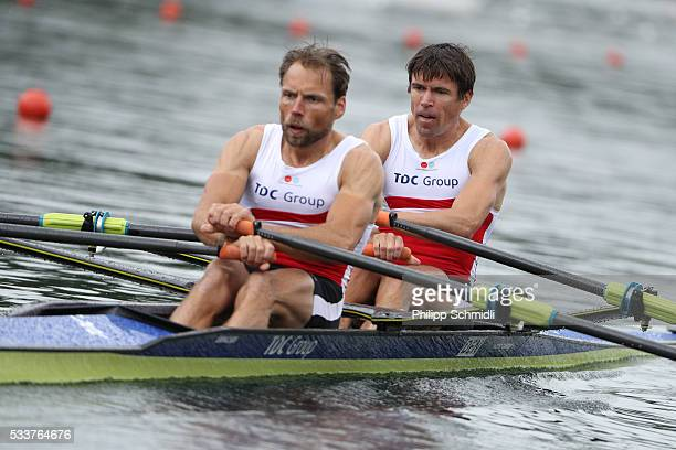 Mads Rasmussen and Rasmus Quist of Denmark compete in the Lightweight Men's Double Sculls semifinal during Day 2 of the 2016 FISA European And Final...