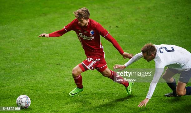 Mads Roerslev of FC Copenhagen and Emil Farver of B93 compete for the ball during the Danish Cup DBU Pokalen match match between B93 and FC...