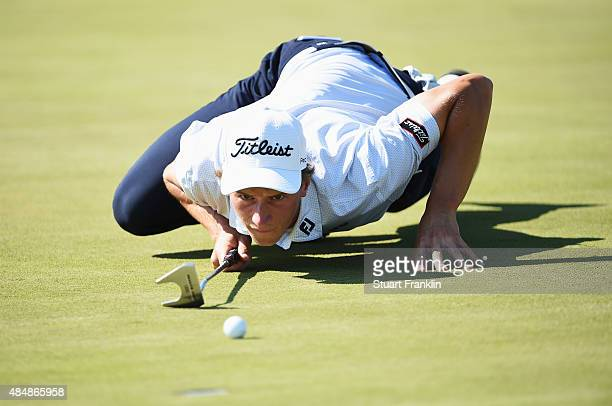 Mads Sogaard of Denmark lines up a putt during the third round of the Made in Denmark at Himmerland Golf Spa Resort on August 22 2015 in Aalborg...