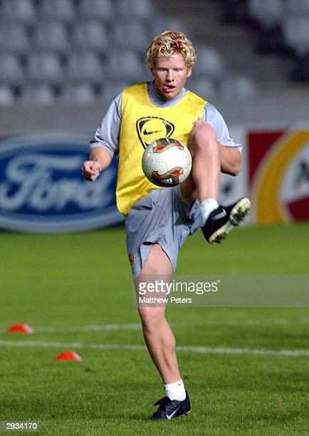 Mads Timm during training before the UEFA Champions League match between Maccabi Haifa v Manchester United at the GSP Stadium on October 28, 2002 in...