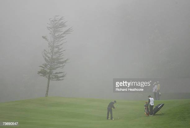 Mads VideHastrup of Denmark plays into the 3rd green amongst the fog during the third round of the Madeira Islands Open BPI 2007 at Clube De Golf...