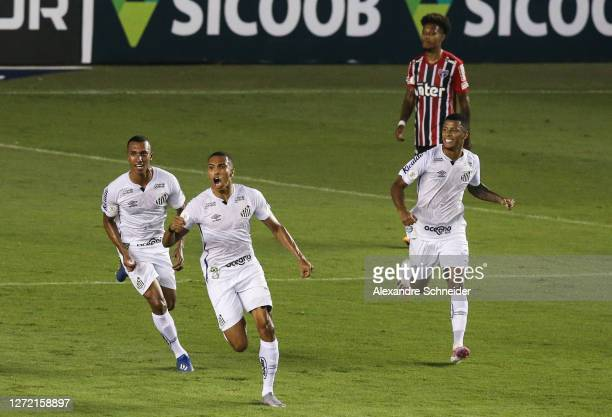 Madson of Santos celebrates with his teammates after scoring the first goal of his team during the match against Sao Paulo as part of Brasileirao...
