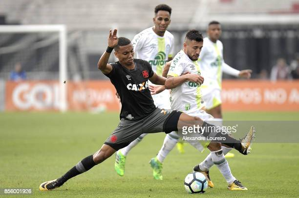 Madson of Vasco da Gama battles for the ball with Alan Ruschel of Chapecoense during the match between Vasco da Gama and Chapecoense as part of...