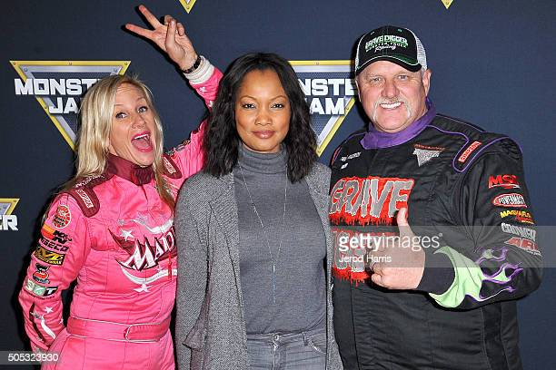 Madusa Garcelle Beauvais and Dennis Anderson arrive at the Monster Jam at Angel Stadium of Anaheim on January 16 2016 in Anaheim California
