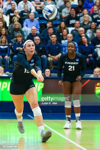 Mady Arles of Emory University runs to bump the ball during the Division III Women's Volleyball Championship held at the AJ Palumbo Center on...