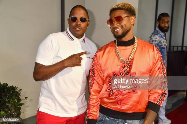 Ma$e and Usher attend the Los Angeles Premiere of Apple Music's CAN'T STOP WON'T STOP A BAD BOY STORY at The WGA Theater on June 21 2017 in Beverly...
