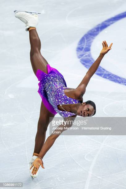 Mae Berenice Meite of France competes in the Ladies Short Program during day one of the ISU European Figure Skating Championships at Minsk Arena on...