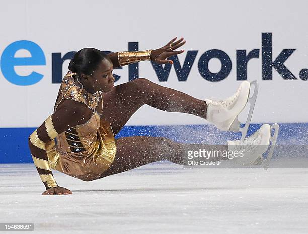 Mae Berenice Meite of France falls in the ladies free skate during Day 3 of the Skate America competition at the ShoWare Center on October 21 2012 in...