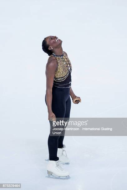 Mae Berenice Meite of France reacts in the Ladies Short Program during day one of the ISU Grand Prix of Figure Skating at Polesud Ice Skating Rink on...