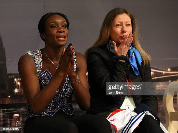 Mae Berenice Meite of France with her coach Katia Krier competes in the Ladies Free Skating event of the ISU European Figure Skating Championships...