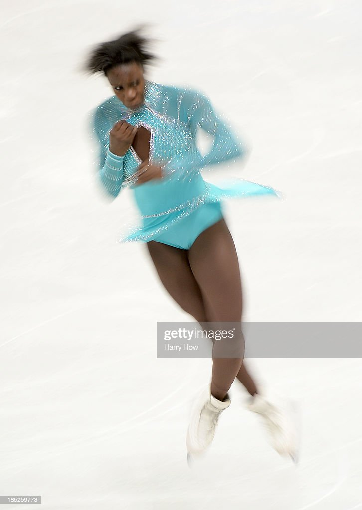 Mae Bernenice Meite of France performs a jump during practice at Skate America 2013 at Joe Louis Arena on October 18, 2013 in Detroit, Michigan.