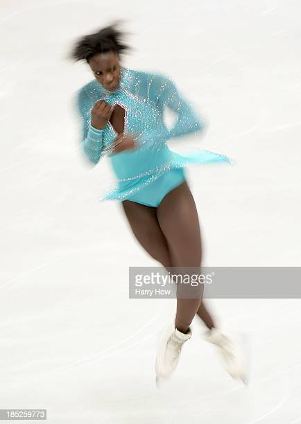 Mae Bernenice Meite of France performs a jump during practice at Skate America 2013 at Joe Louis Arena on October 18 2013 in Detroit Michigan