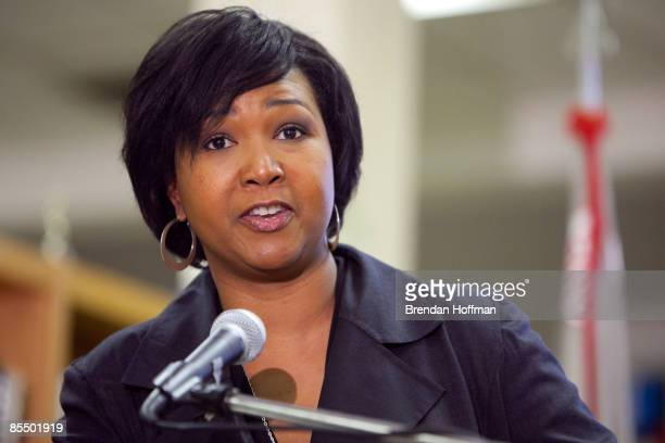 Mae Jemison the first black woman to travel in space speaks to students at Woodrow Wilson High School on March 19 2009 in Washington DC The visit was...