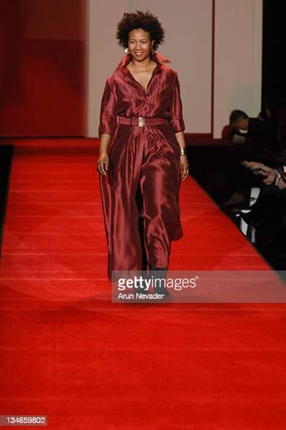 Mae Jemison wearing Lyn Devon during Heart Truth Red Dress Fall 2007