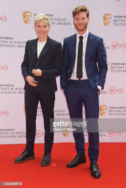 Mae Martin and Joe Hampson arrive at the Virgin Media British Academy Television Awards 2021 at Television Centre on June 6, 2021 in London, England.
