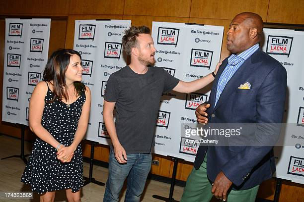 Mae Whitman Aaron Paul and Chi McBride at the Film Independent at LACMA presents live read of Breaking Bad directed by Jason Reitman at Bing Theatre...