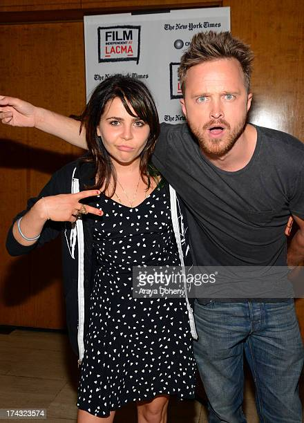 Mae Whitman and Aaron Paul at the Film Independent at LACMA presents live read of 'Breaking Bad' directed by Jason Reitman at Bing Theatre At LACMA...