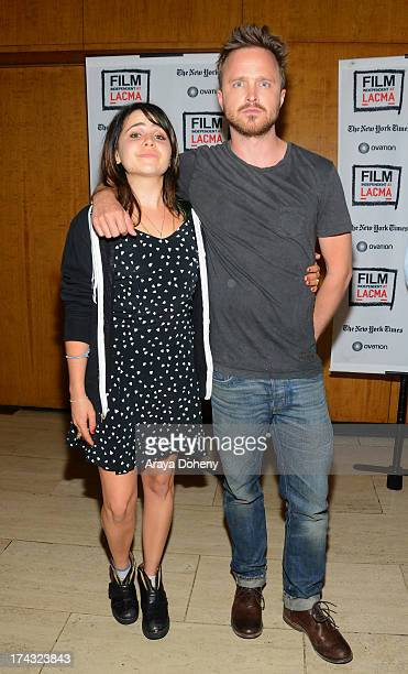 Mae Whitman and Aaron Paul at the Film Independent at LACMA presents live read of Breaking Bad directed by Jason Reitman at Bing Theatre At LACMA on...