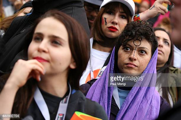 Mae Whitman Jackie Cruz and Alia Shawkat attend the rally at the Women's March on Washington on January 21 2017 in Washington DC