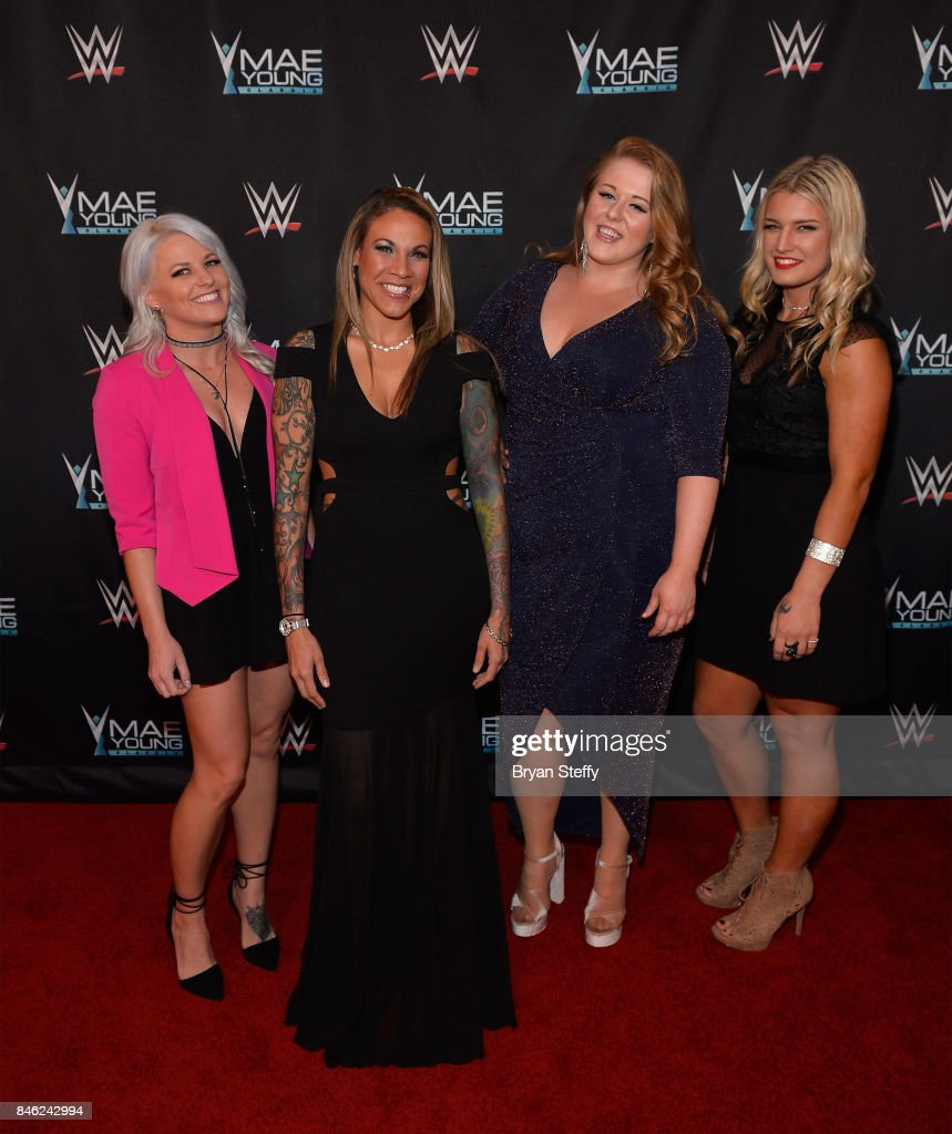 Mae Young Classic contestants Candice LaRae, Mercedes Martinez, Piper Niven and Toni Storm appear on the red carpet of the WWE Mae Young Classic on September 12, 2017 in Las Vegas, Nevada.