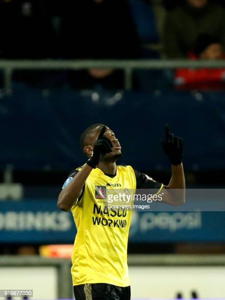 Maecky Fred Ngombo of Roda JC celebrates 01 during the Dutch Eredivisie match between SC Heerenveen v Roda JC at the Abe Lenstra Stadium on February...