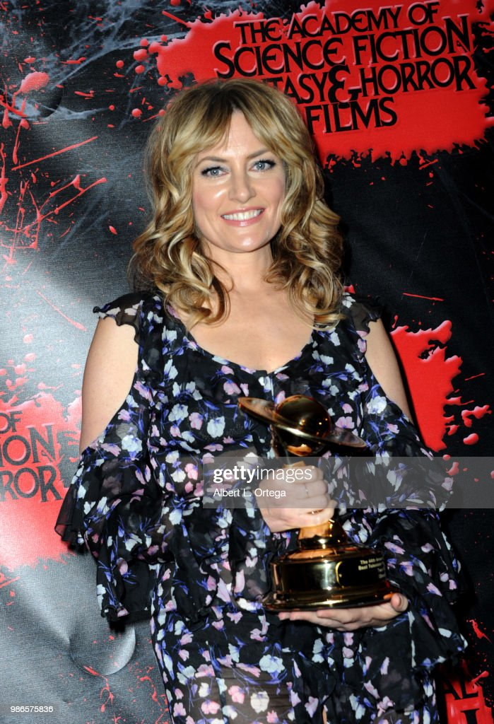 Maedchen Amick poses in the press room at the Academy Of Science Fiction, Fantasy & Horror Films' 44th Annual Saturn Awards at The Castaway on June 27, 2018 in Burbank, California.