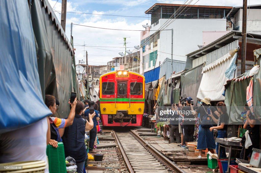 "Maeklong Railway Market famous named ""Train Market"" : Stock Photo"