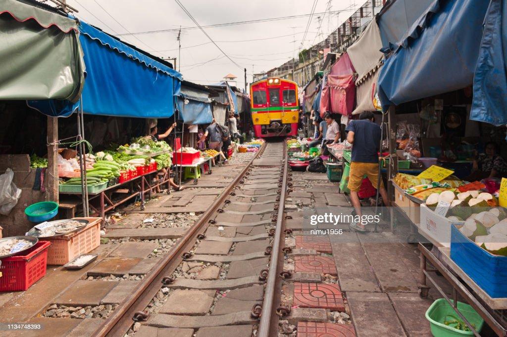 Maeklong Railway Market : Stock Photo
