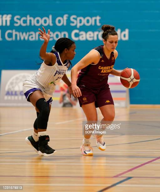 Maela Faleu and Laura Shanahan are seen in action during the Women's British Basketball League match between WBBL Cardiff Archers and Caledonia Pride...