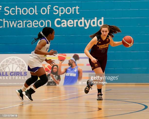 Maela Faleu and Maisie Harrhy are seen in action during the Women's British Basketball League match between WBBL Cardiff Archers and Caledonia Pride...