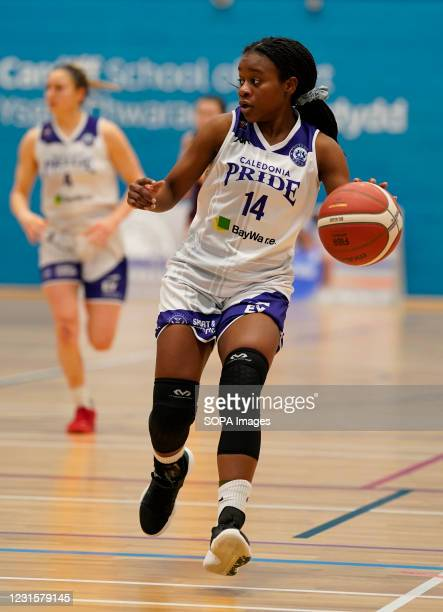 Maela Faleu seen in action during the Women's British Basketball League match between WBBL Cardiff Archers and Caledonia Pride at Cardiff Archers...
