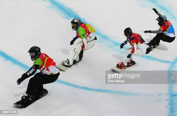 Maelle Ricker of Canada is followed by Marie Laissus of France Deborah Anthonioz of France and Doris Guenther of Austria in the Womens Snowboard...