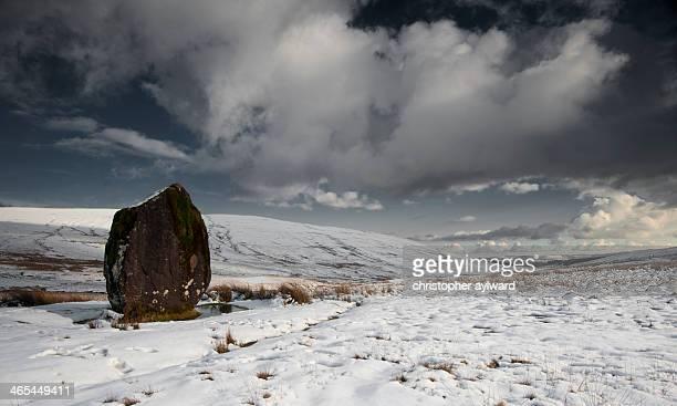 Maen Llia Druid Standing Stone near Ystradfellta, Senni in the Brecon Beacons. Taken in the snow at winter time.