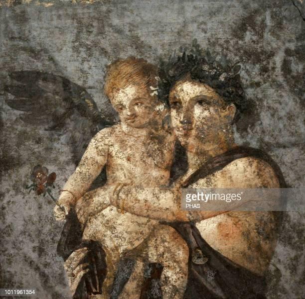 Maenad and Eros. Roman fresco. 1st century AD. Tablinium. House of Lucius Caecilius Lucundus. Pompeii. National Archaeological Museum, Naples, Italy.
