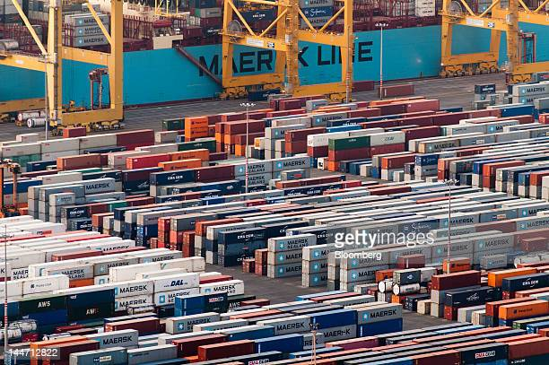 A Maersk Line container ship stands at the quayside during loading at the Terminal de Contenidors de Barcelona area of the Port of Barcelona...