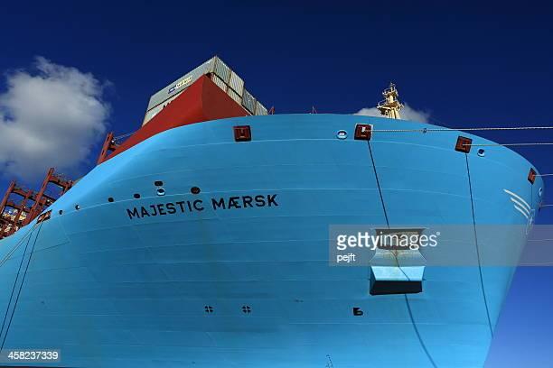 maersk line triplo e nave mercantile maestoso mærsk - pejft foto e immagini stock