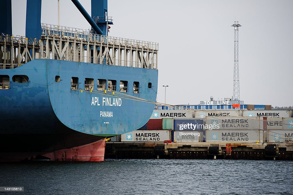Maersk Sealand-branded shipping containers sit on the