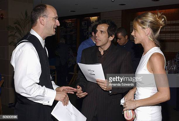 Maestro Timothy Brock chats with actors Ben Stiller and Christine Taylor at the 15th Anniversary of the Los Angeles Chamber Orchestra's Silent Film...